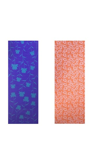 Vritraz  Printed, Extra Thick 6mm, 182.88 cm (72 inch)x60.96 cm (24 inch) Long, Premium Eco Safe, Non Slip Yoga Mat With Free Carry Bag BlueLotus-OrangeFlower (Pack of 2)