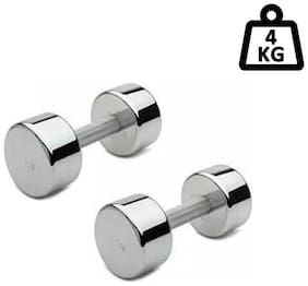 VSI Unisex Steel Chrome Fixed Weight Dumbell 4 kg (Set of Two)