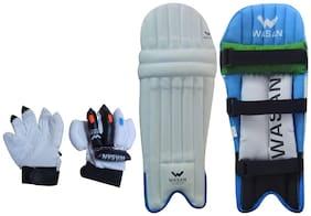 Wasan Cricket Batting Legguard Pads and Cricket Batting Gloves Set (5-8 Years)