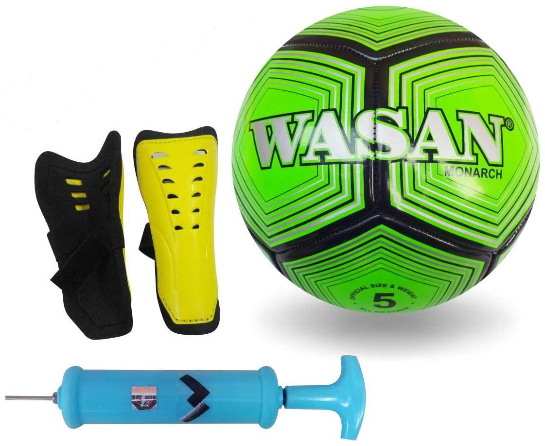Wasan Gift Pack Football Size 5, Pump   Shinguard Training Set kit    12 Years and Above