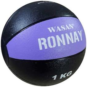 Wasan Soft Rebound Rubber Medicine Ball 1 kg Purple/Black - Gym Training Fitness