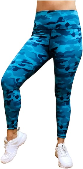 Wear And lift Women Blue Camo High Waisted Tights For Gymming, Tracking, Running and Active sports