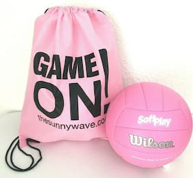 WILSON SOFT PLAY VOLLEYBALL INDOOR OUTDOOR SPORT BALL & PINK BACKPACK BAG SET