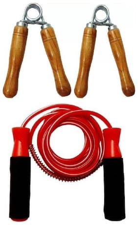 Wish good quality 2 pc wooden hand grip + plastic skipping rope for exercise Home Gym Kit