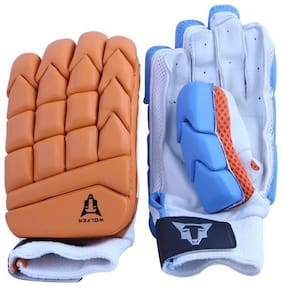 Wolfer BW Colorflash Cricket Batting Gloves - Right Hand (Blue and Orange)