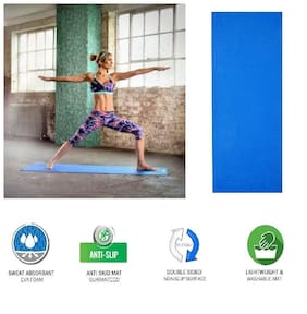 Yoga Mat 4mm Thick and Non-Slippery Washable (1Pc) Blue