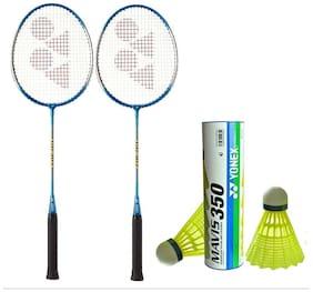 Yonex Badminton Racquet (Pair of 2) GR 303 With Mavis 350 Shuttle Cock Pack of 6 pc