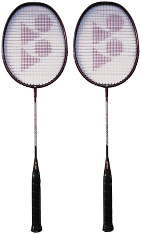 Yonex ZR 100 Strung Badminton Racquet, Cherry (Set of 2)