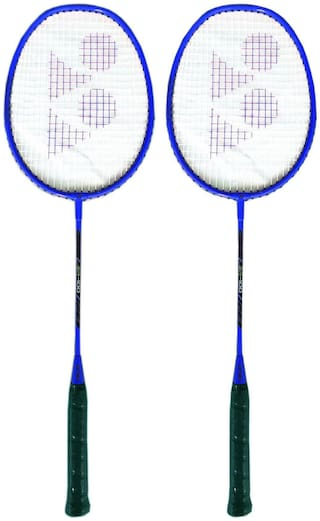 Yonex ZR 100 Strung Badminton Racquet, Blue (Set of 2)