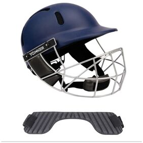 Yonker Cricket Helmet PROTECH with Dial Adjuster YS160002 JUNIOR NAVY BLUE COLOR With (FREE Neck Protector FOR Cricket Helmet - STEM SHIELD)