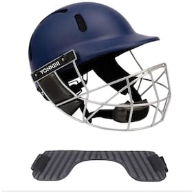Yonker Cricket Helmet PROTECH with Dial Adjuster YS160002-SENIOR NAVY BLUE COLOR With (FREE Neck Protector FOR Cricket Helmet - STEM SHIELD)