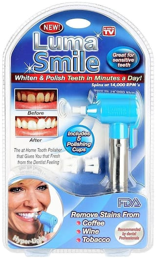 zauky Tooth Polisher Whitener Stain Remover with LED Light Luma Smile Rubber Cups
