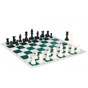 ZINOM 17x17 Tournament Chess Set with Solid Plastic Filled Chessmen and Green Roll-Up Vinyl Mat Family Games for Kids Adults -Forest Green