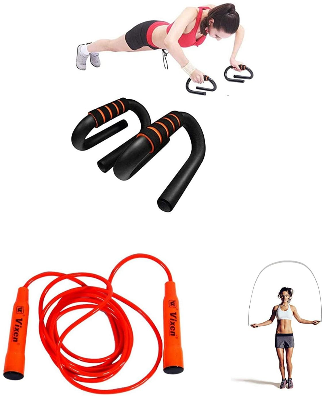 ZINOM 2 in 1 {Combo Pack   Push up Bars Dip Stands + Jumping Rope} Orange Color for Unisex