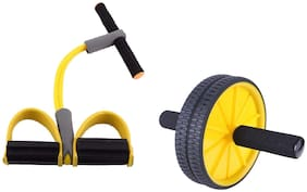 ZINOM Tummy Trimmer Pull Reducer and Ab Wheel Roller with Mat Combo for Core Abdominal Exercise (Multicolour)