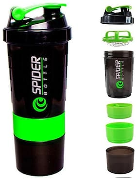 Zukunft Fashion Spider Protein Shaker Bottle With 2 Storage Extra Compartment 500 ml Shaker