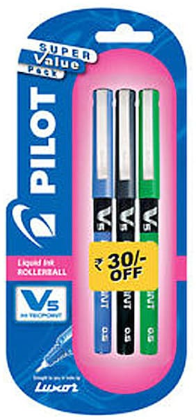 (Pack Of 2)Pilot V5 Pen ( 1 Blue ;1 Black ;1 Green)