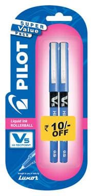 Pilot V5 Pen (Pack of 2 Blue Pen)