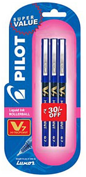 (Pack of 2)Pilot V7 (Pack of 3 Blue Pen)
