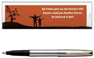 Parker Frontier Stainless Steel GT Roller Ball Pen With Dad Quote-5