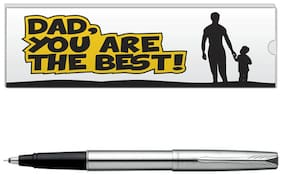 Parker Frontier Stainless Steel CT Roller Ball Pen With Dad Quote-1