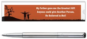 Parker VeCTor Stainless Steel CT Roller Ball Pen With Dad Quote-5