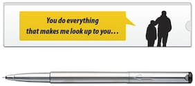 Parker VeCTor Stainless Steel CT Roller Ball Pen With Dad Quote-7