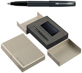 Parker Frontier Matte Black CT Roller Ball Pen And Card Holder Combo