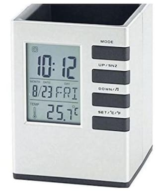 1 Compartments Plastic Cube Desk Clock Stand With Alarm/Calander