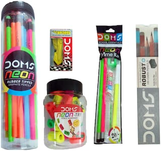 1 DOMS NEON PRIME KIT +10 DOMS ROBUST HB DARK PENCIL+30 DOMS NEON RUBBER TIPPED GRAPHITE PENCILS+ 4 DOMS SPORTS COLLECTABLE CAR ERASERS