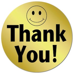 1 Inch Circle, Thank You Smiley Face Gold Foil, Roll of 1,000 Stickers