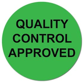 1 Inch Circle, Quality Control Approved, Green Dayglo, Roll of 1,000 Labels