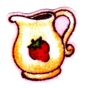"1"" Strawberry shortcake teapot mini fabric applique iron on character"