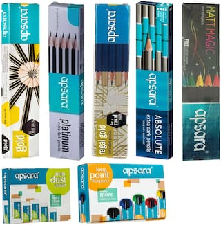 10 APSARA MATT MAGIC PENCIL + 10 APSARA ABSOLUTE PENCIL + 10 APSARA REGAL GOLD PENCIL + 10 APSARA PLATINUM PENCIL + 10 APSARA GOLD PENCIL + 20 APSARA NON DUST ERASER + 20 APSARA LONG POINT SHARPENER
