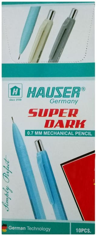 10 HAUSER GERMANY SUPER DARK 0.7 MM MECHANICAL PENCIL + 10 LEAD BOXES