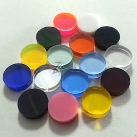 "100 1.25"" dia. x 1/8"" Small RANDOM COLOR Acrylic Circle Disc Plexiglass Plastics"
