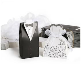 100-200pcs Wedding Favor Boxes Dress Tuxedo Party Candy Gift Bride Groom Shower
