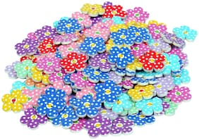 100 Pcs Flower Shape Wooden Printed Buttons for Sewing and Crafts 20 mm