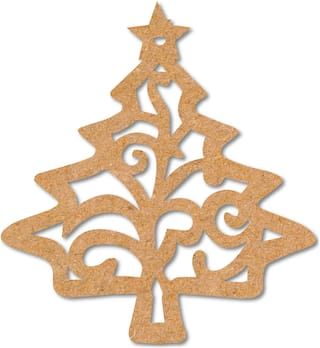 100yellow Wooden Decoration Designer Christmas Tree Tag Cutout for Christmas Tree Hanger Pack of 10