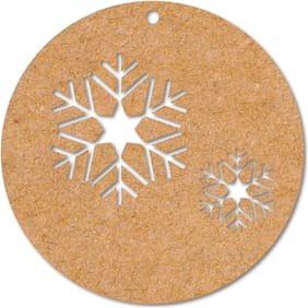 100yellow Wooden Decoration Snow Flakes Tag Cutout for Christmas Tree Hanger Pack of 10