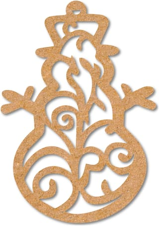 100yellow Wooden Decoration Designer Snowman Tag Cutout for Christmas Tree Hanger Pack of 10