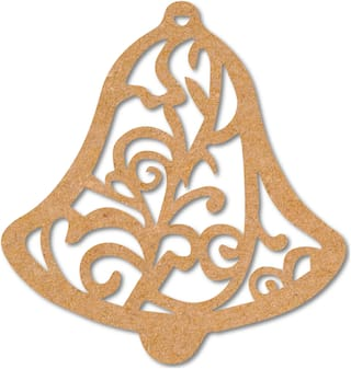 100yellow Wooden Decoration Designer Bell Tag Cutout for Christmas Tree Hanger Pack of 10