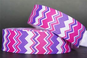 "10Yd Pink & Purple Chevron 7/8"" White Grosgrain Ribbon Craft/Bow/Scrapbook"