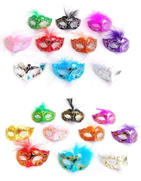 12 Mini Mardi Gras Feathered GLITTER MASK party cupcake wedding quince favor