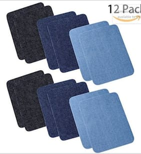 12Pcs/Sets Denim Durable Back Glue Sweater Shirt Elbow Patch Knee Sleeve-pasted