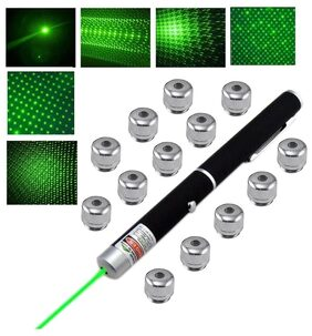 13 in 1 RECHARGEABLE HIGH POWER GREEN LASER POINTER BEAM WITH STYLISH DISCO LIGHT