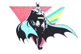 "15.5"" Batman comics super hero vintage triangle fabric applique iron on"