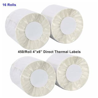 16 Rolls Direct Thermal Labels 450/Roll 4x6 For Zebra Eltron ZP450 2844 ZP500
