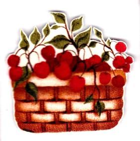 "2.5"" Cherries cherry fruit basket kitchen fabric applique iron on"