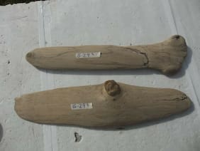 "2 DRIFTWOOD PIECES 24"" x 6"" x 2"" and 23"" x 5"" x 1.5"" flat on 1 side - clean G-29"